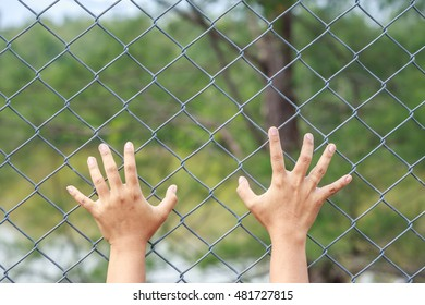 Close up hands hanging on metal chain link fence