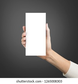 Close up hands holding paper blank brochure a4 three template on a grey background.