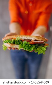 close up hands holds a delicious sandwich with vegetables and meat and salad. An ideal concept for advertising a cafe, restaurant, or fast food with sandwiches