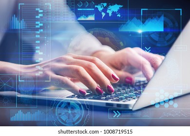 Close up of hands using laptop with abstract digital business interface. Future, innovation and analytics concept. Double exposure