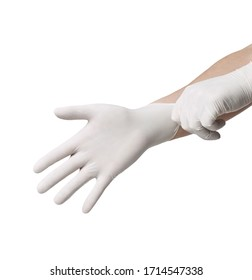 close up of hands with white latex protective gloves on white background