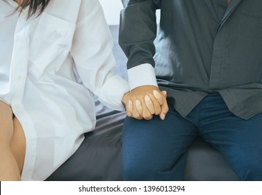Close up of hands young couples holding together in lovely and romantic moment,Valentines day concept,First date