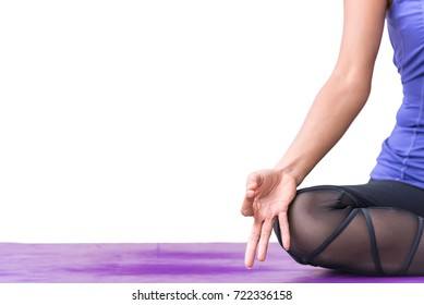 Close up hands.Asian woman meditates yoga, exercising vital lifestyle, Calmness and relax