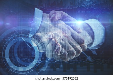 Close up of handshake and digital pattern on business chart background. Teamwork concept. Double exposure