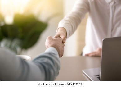 Close up of a handshake, male and female hands shaking as a symbol of effective negotiations, making agreement, greeting business partner or mutual respect and gender equality in relationships