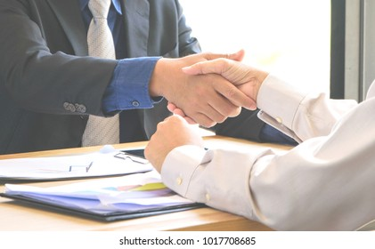 Close up handshake,Concept Business successful