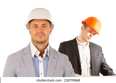 Close up Handsome Male Engineers in White and Orange Helmets Isolated on White Background