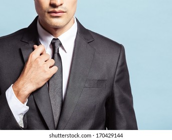 Close up of handsome young businessman