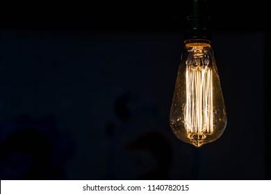 Close up hanging light bulbs - retro style