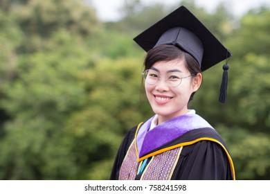 Close Up of Happiness Beautiful Asian Graduate Woman, Beauty Face.