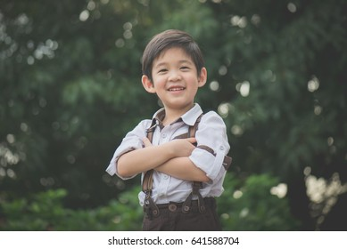 Close up of happy asian child outdoor
