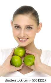 Close up happy model holding a fresh lemon