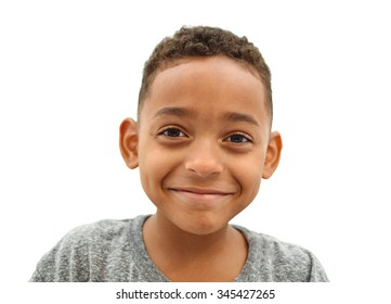 Close Up of Happy Smiling Boy with short curly hair isolated on white background