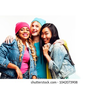 close up happy smiling diverse nation girls group, teenage frien