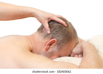 Close up of an head massage on isolated background
