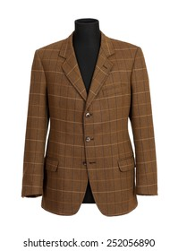 Close up Headless Mannequin in Brown Business Suit Fashion Isolated on White Background.