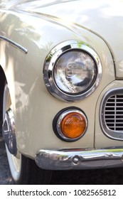 Close up of headlight retro car face