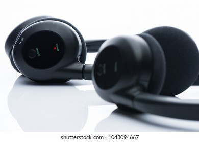 Close up headphones bluetooth on white background