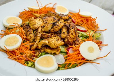 close up of a healthy chicken salad