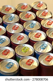 Close Up Of Healthy Energy Drinks With Tab Up/ Healthy Energy Drink Cans