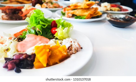 Close up healthy organic vegetable salad in dish and yogurt salad cream low fat, on white background,food non toxic concept and sustainable healthcare