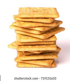 Close up healthy  whole wheat cracker on white background