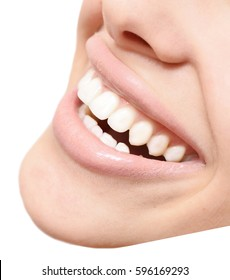 close up of healthy woman smile