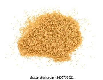 Close up heap of amaranth grain seeds isolated on white background, close up, elevated top view, directly above