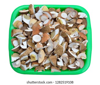 A close up of the heap pieces of mushrooms Cep (Boletus edulis). Isolated on white.