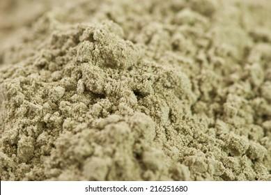 close up of heap of raw organic hemp protein powder
