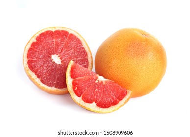Close up at Heap of sliced,half and whole of grapefruit(Citrus × paradisi) isolate on white background.Have a lot of vitamin C and antioxidants.Sweet and sour taste.Fruit,food or diet concept.