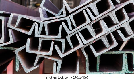 Close up heap of U shape beam steel in factory shelf