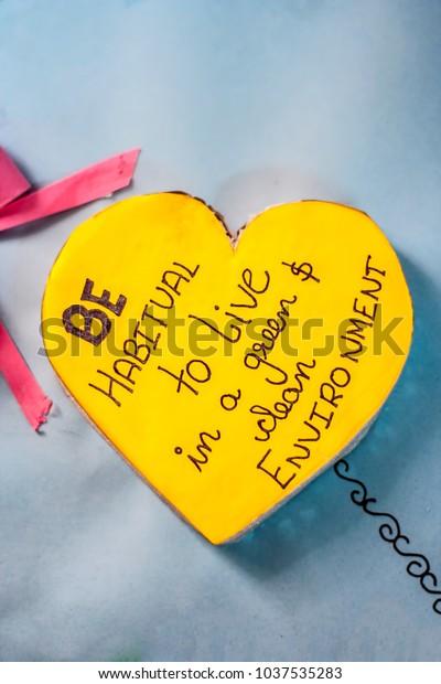 Close Heart Shapes Unique Motivational Quotes Stock Photo