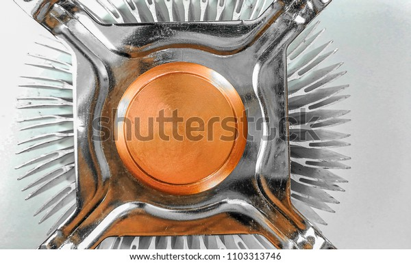 close up of heat sink isolated on white background