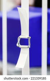 Close up heavy duty white color nylon strapping with metal buckle