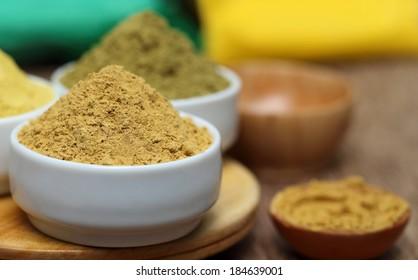 Close up of henna and sandalwood powder