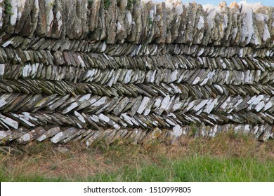 Close up of herringbone pattern dry stone wall, Cornwall