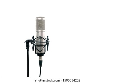 Close up of high fidelity microphone hanging  on holder isolated on white background for youtuber and vlogger. High quality condencer microphone with clipping path.