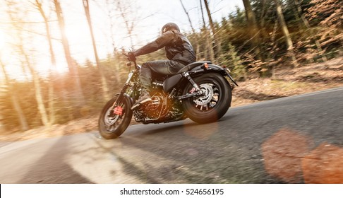 Close up of a high power motorcycle. On the road.