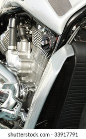 Close up of a high power motorcycle twin