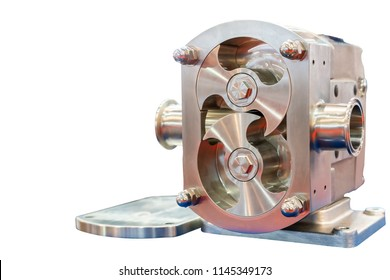 Close up High technology and quality rotary or lobe gear high pressure vacuum pump for control constant flow rate water solvent chemical liquid or oil isolated on white background with clipping path