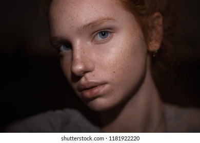 Close up highly-detailed portrait of amazing serious charming young redhead woman with grey blue eyes and perfect healthy freckled skin, looking at camera, no makeup clean skin