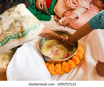 Close of of Hindu Bride and Groom's hands