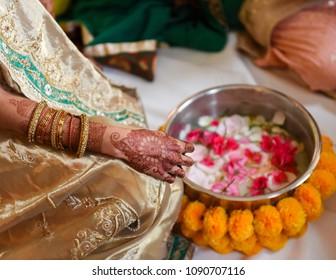 close up of Hindu bride with henna tattoo
