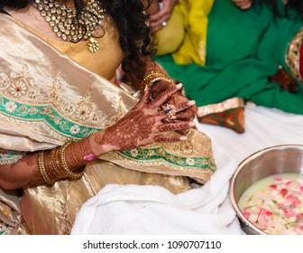 Close of of Hindu Bride's hands