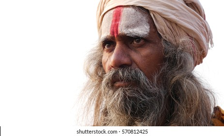 Close Up of Hindu Sadhu Holy Man