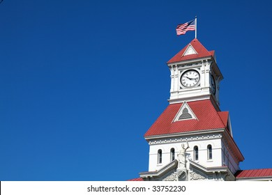 A close up of the historic courthouse tower in Corvallis, Oregon