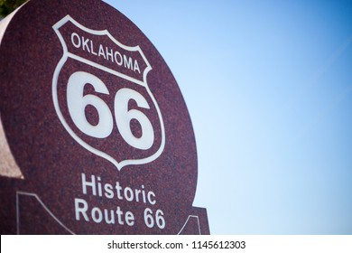 Close up of historic route 66 sign in Oklahoma