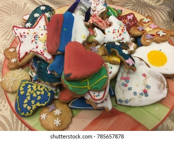 Close up of home made christmas cookies, background
