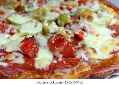 Close up of a home made pizza
